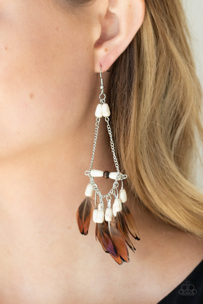 Haute Hawk - White - Paparazzi Feather Earrings