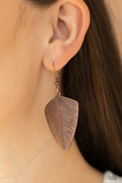 One Of The Flock - Copper - Paparazzi Feather Earrings