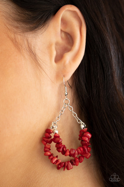 Rainbow Rock Gardens - Red - Paparazzi Earrings