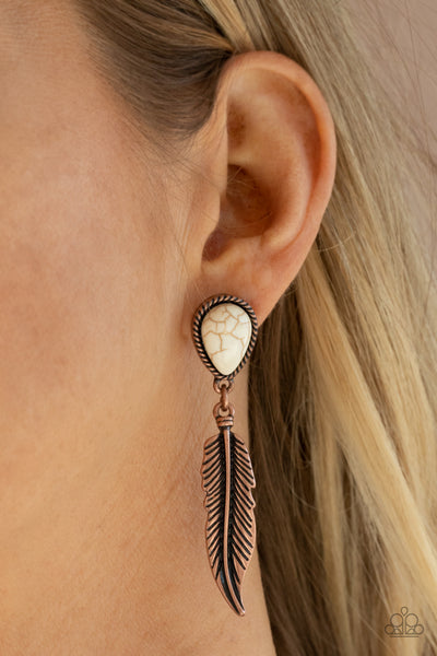 Totally Tran-QUILL - Copper - Paparazzi Post Feather Earrings