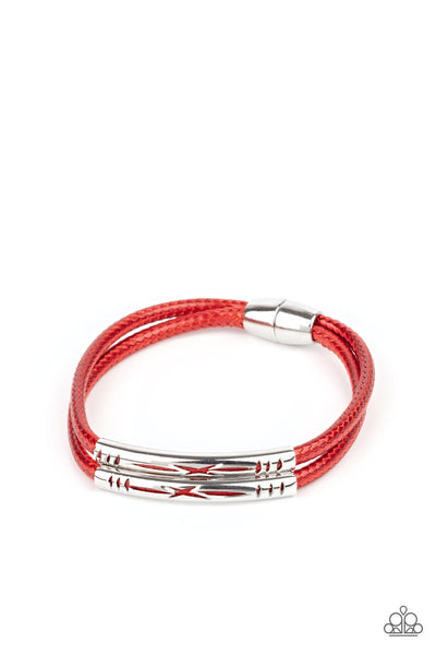 What a WANDER-ful World - Red - Paparazzi Magnetic Bracelet