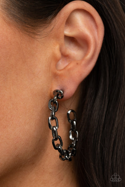 Stronger Together - Black - Paparazzi Hoop Earrings