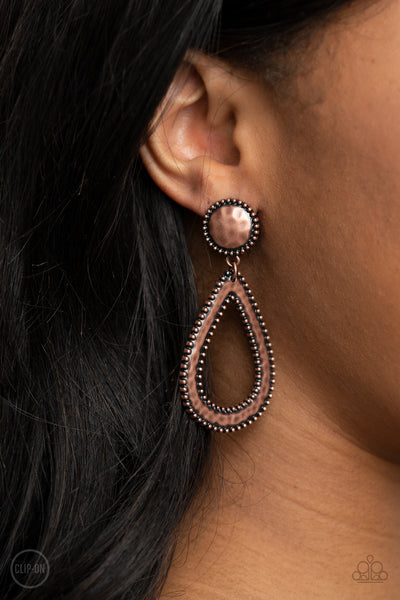 Beyond The Borders - Copper - Paparazzi Clip-On Earrings