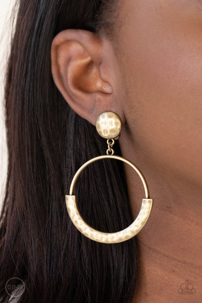Rustic Horizons - Brass - Paparazzi Clip-on Earrings