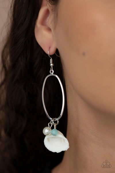 This Too SHELL Pass - Blue - Paparazzi Earrings Shell Cat's Eye Stone