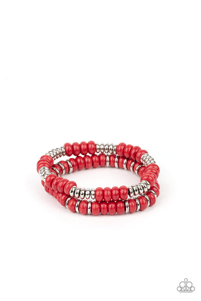 Desert Rainbow - Red - Paparazzi Stretchy Bracelet