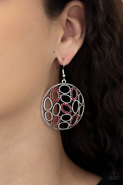 Watch OVAL Me - Red - Paparazzi Earrings