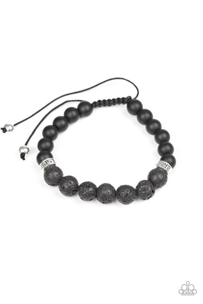 Keep Your Cool - Black - Paparazzi Lava Beads Sliding Knot Bracelet #4170