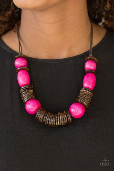 You Better BELIZE It! - Pink - Paparazzi Wood Necklace