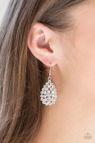 Sparkling Sparkle-naire - White - Paparazzi Tear Drop Earrings #773 (D)