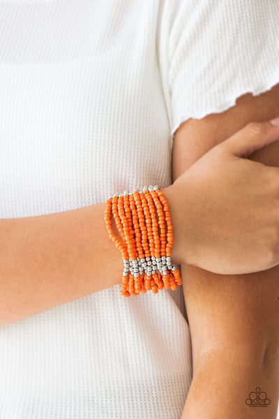 Outback Odyssey - Orange - Paparazzi Stretchy Bracelet Seed Beads #780 (D)