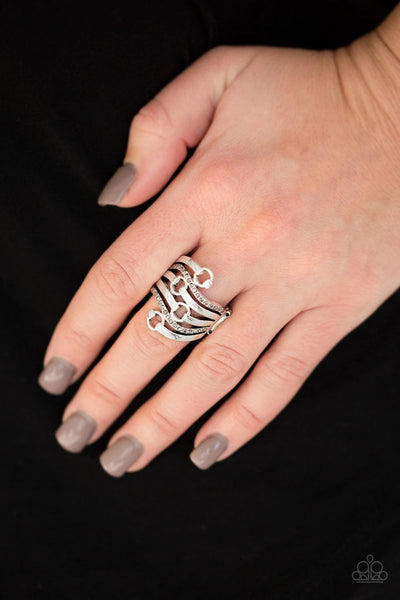 Buckle Up - Silver - Paparazzi Ring