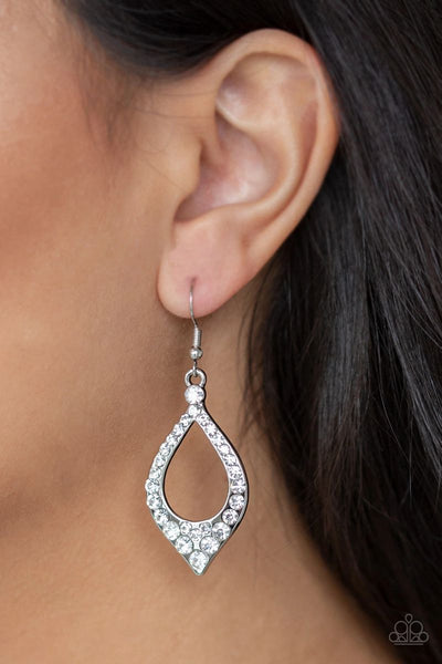 Finest First Lady - White - Paparazzi Earrings #108