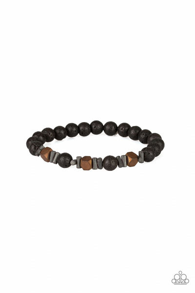 Rejuvenated - Copper - Paparazzi Stretchy Lava Beads Bracelet