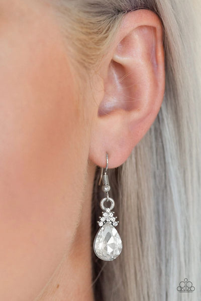 5th Avenue Fireworks - White - Paparazzi Earrings