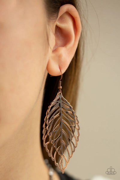Take It or Leaf It - Copper - Paparazzi Leaf Earrings #4514
