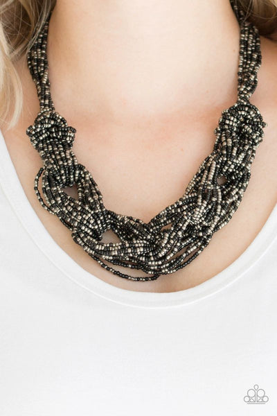 City Catwalk - Black - Paparazzi Seed Bead Necklace