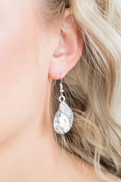 Easy Elegance - White - Paparazzi Earrings