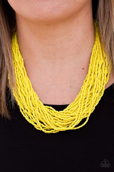 The Show Must CONGO On! - Yellow - Paparazzi Seed Bead Necklace