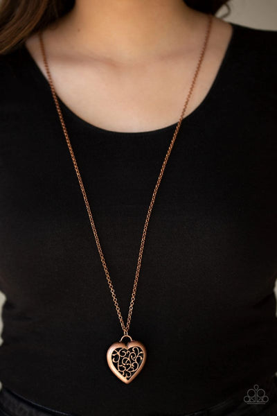 Victorian Valentine - Copper - Paparazzi Heart Necklace #2846 (D)