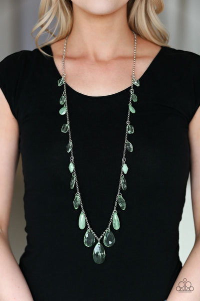 GLOW And Steady Wins The Race - Green - Paparazzi Necklace #4606