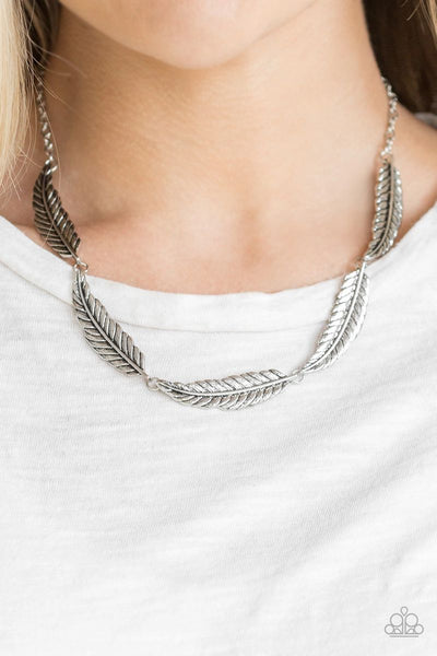 Light Flight - Silver - Paparazzi Feather Necklace