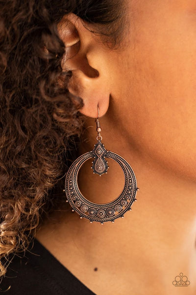 Solar Orbit - Copper - Paparazzi Earrings