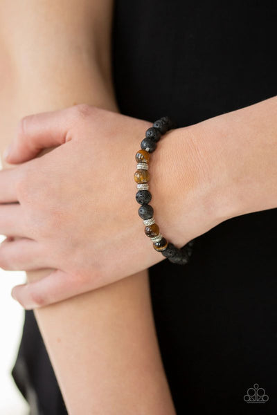 Paparazzi - Peace and Quiet - Black Lava Beads Stretchy Bracelet #3798
