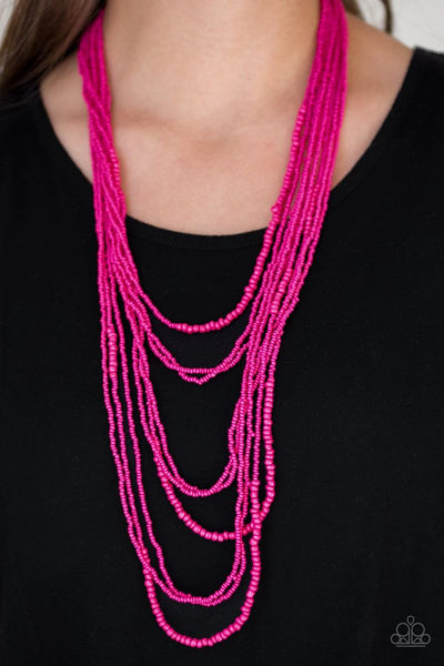 Totally Tonga - Pink - Paparazzi Seed Bead Necklace #4396