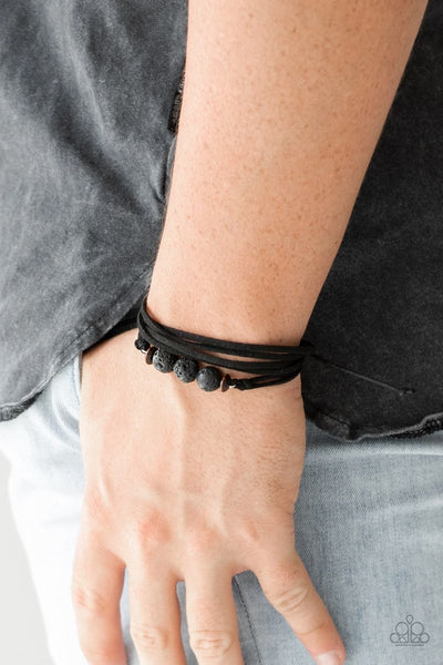 Adventure Zone - Black - Paparazzi Sliding Knot Cord Bracelet Lava Bead