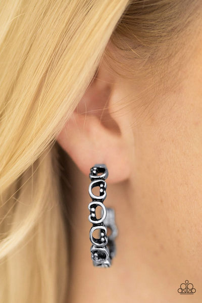 A Big Flirt - Silver - Paparazzi Hoops Earrings #1764 (D)
