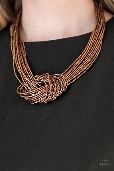 Knotted Knockout - Copper - Paparazzi Seed Bead Necklace