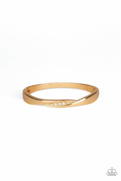 Paparazzi - Glittering Grit - Gold Bangle Like Hinge Bracelet #2915