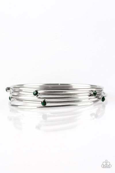 Paparazzi - Delicate Decadence - Green Bangle Bracelet