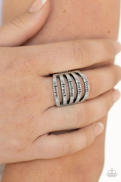Never Lose Faith - Silver - Paparazzi Ring Inspirational