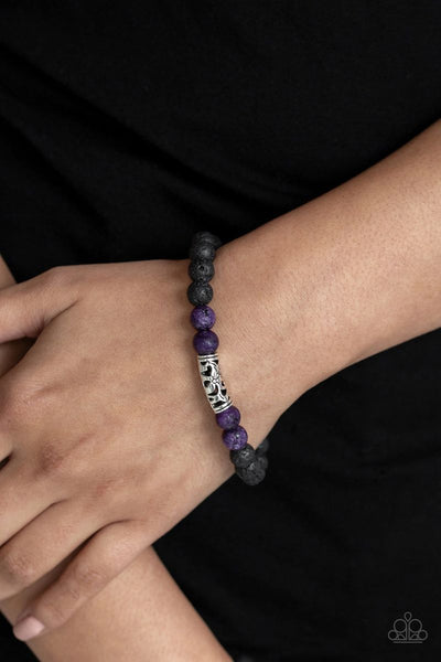Modern Meditation - Purple - Paparazzi Lava Beads Stretchy Bracelet #539 (D)