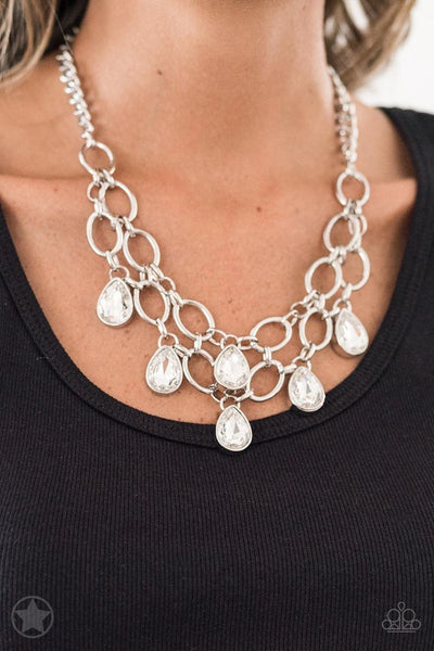 Show-Stopping Shimmer - White - Paparazzi Blockbuster Necklace