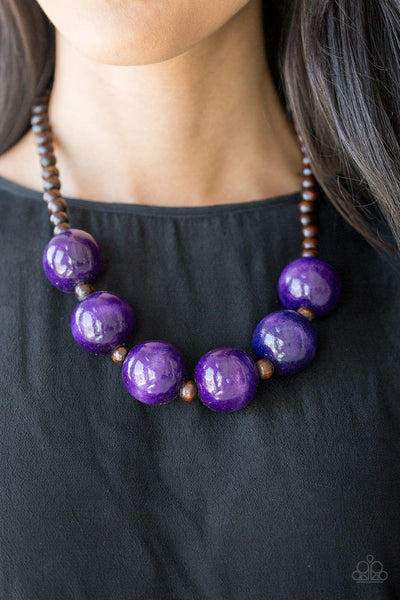 Paparazzi - Oh My Miami - Purple Wood Necklace #3366