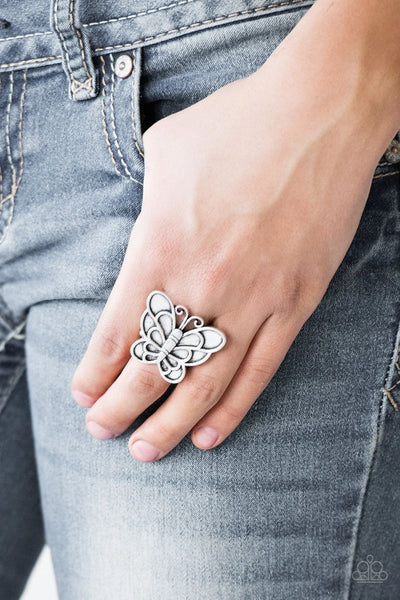 Sky High Butterfly - Silver - Paparazzi Ring Butterfly