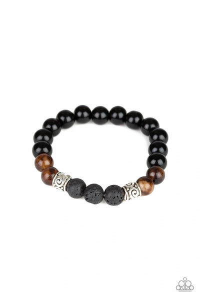 Paparazzi - Mantra - Brown Lava Beads Stretchy Bracelet #3580