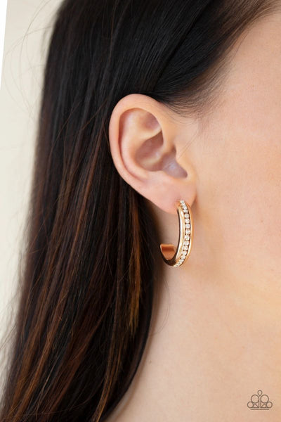 5th Avenue Fashionista - Gold - Paparazzi Gold Hoop Earrings
