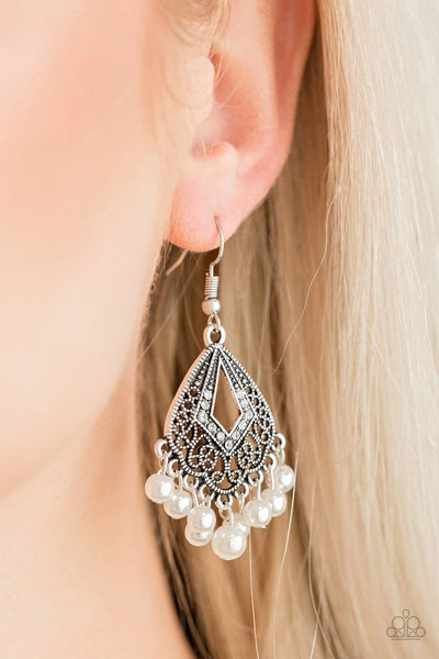 Gracefully Gatsby - White - Paparazzi Earrings