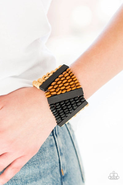HAUTE In Hispaniola - Black - Paparazzi Wood Bracelet