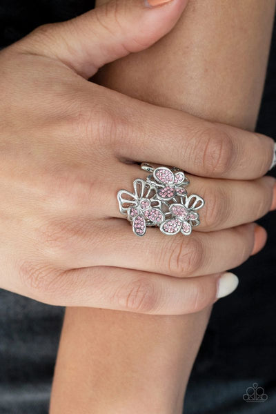 Flighty Flutter - Pink - Paparazzi Ring Butterfly