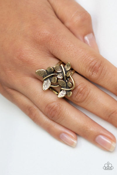 Full Of Flutter - Brass - Paparazzi Butterfly Ring