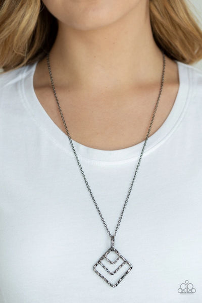 Square It Up - Black - Paparazzi Necklace