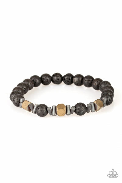 Rejuvenated - Brass - Paparazzi Lava Beads Stretchy Bracelet