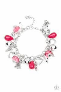 Paparazzi - Completely Innocent - Pink Heart Feather Tassels Charms Clasp Bracelet #467 (D)