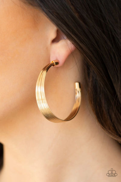 Live Wire - Gold - Paparazzi Hoop Earrings