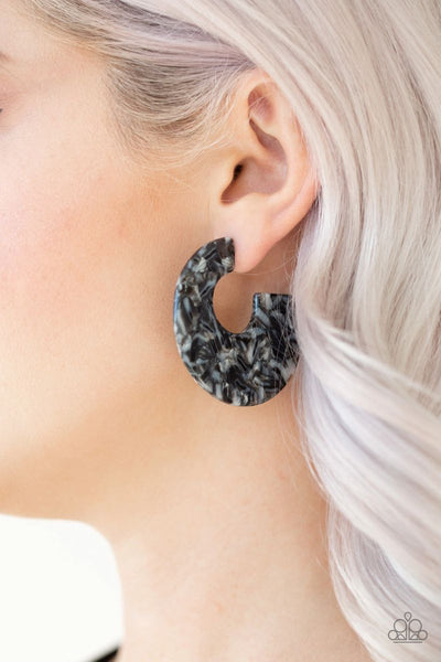 Tropically Torrid - Black - Paparazzi Hoop Acrylic Earrings